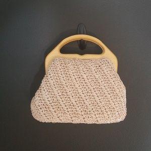 ADG vintage wicker handbag blush pink small